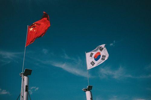 dangus,vėliava,nami,Kinijos Liaudies Respublika,Korėjos Respublika,Šalis
