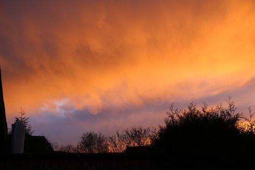 dangus, raudona dangus, nuotaika, farbenspiel, pobūdį, keistai, oranžinis