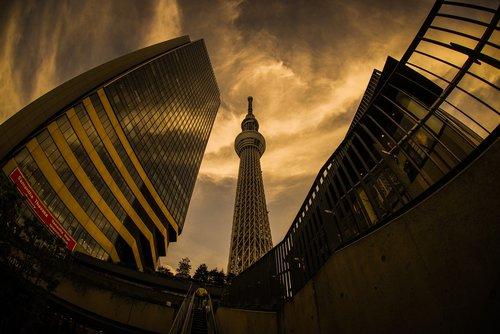 dangus, Tokyo, Tokyo Sky Tree, Miestas, tokyo solamachi, kraštovaizdis, daugiaaukštis pastatas, miestovaizdis, statyba, bokštas, Japonija, saulėlydžio, vakare, šviesa