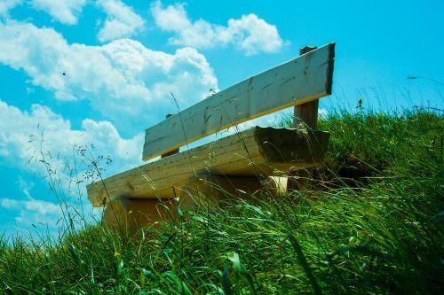 dangus, bankas, debesys, gamta, žalias, poilsio vieta, sėdėti, stendas, pertrauka, pieva