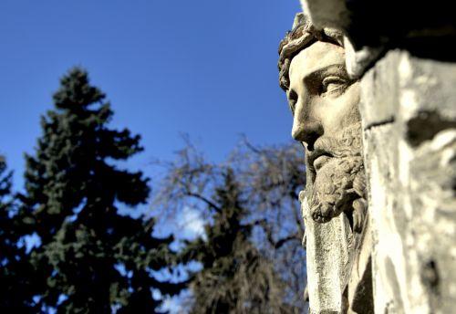 Jėzus & nbsp, Kristus, šventas, veidas, akmuo, palengvėjimas, skulptūra, mėlynas, saulė, diena, nuotrauka, Laisvas, saulėta diena