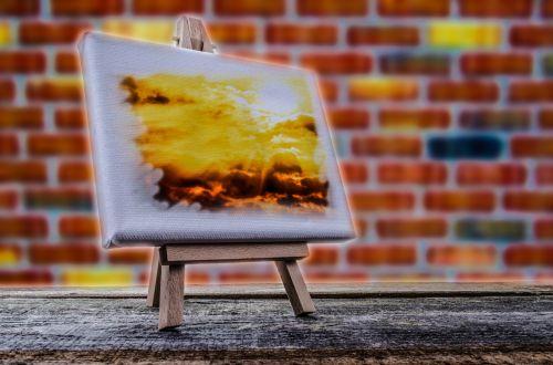 paveikslai, stovėti, menininkas, saulėlydis, skelbimų lenta, balta, eskizas, įrankis, tuščias, naujas, molbertas, studija, drobė, žanras, piešimas, dažyti, figūra, įranga, parama, kūrybiškumas, paroda, mediena, rėmas, spalva, apibūdinantis, trikojis, teptukas, tuščia, nuotrauka, dangus, mažas drobė