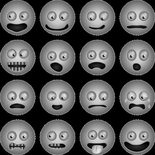 šypsenėlės,piktogramos,iconset,veidai,laimingas,liūdnas,siurprizas,emocijos,šypsenėlė,smiley,šypsenėlės,nemokama vektorinė grafika