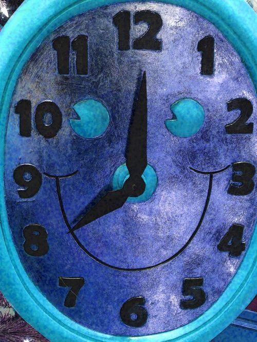 laikrodis, laikrodžiai, veidas, šypsena, šypsosi, laikrodis & nbsp, veidas, laikas, laikas, apdaila, mėlynas, Kalėdos, xmas, šypsokis laikrodžio veidas - mėlynas