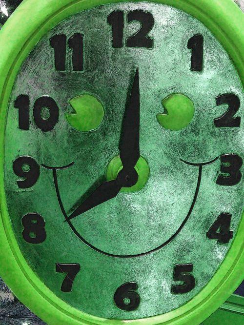 laikrodis, laikrodžiai, veidas, šypsena, šypsosi, laikrodis & nbsp, veidas, laikas, laikas, apdaila, žalias, Kalėdos, xmas, šypsokis laikrodžio veidas - žalia