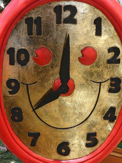 laikrodis, laikrodžiai, veidas, šypsena, šypsosi, laikrodis & nbsp, veidas, laikas, laikas, apdaila, raudona, Kalėdos, xmas, šypsokis laikrodžio veidas - raudonas