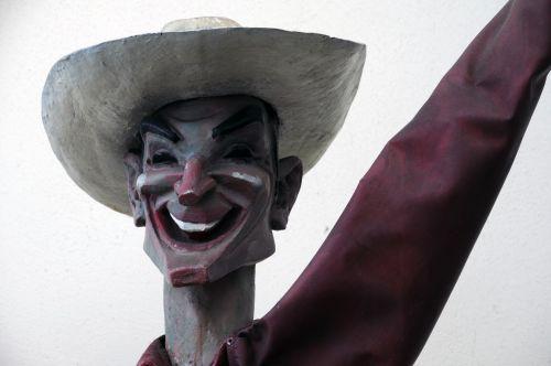 kaubojus, statula, figūra, laimingas, plaukiojantys, vakaruose, šypsena, šypsosi, šypsokis kaubojus