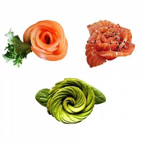 užkandis, užkandis, pomidoras, avokadas, lašiša, žuvis, daržovių, sveikas & nbsp, maistas, maistas, drožyba, šventė, banketą, užkandis