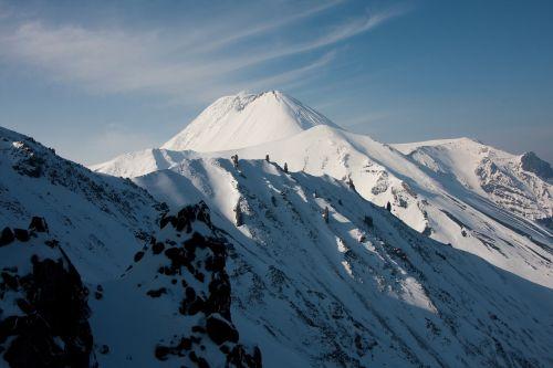 sniegas, kalnas, žiema, kalnų viršūnė, ledas, padengtas sniego, vulkanas, be honoraro mokesčio