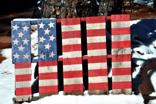 sniegas, žiema, vėliava, amerikiečių & nbsp, vėliava, raudona & nbsp, balta & nbsp, mėlyna, apdaila, mediena, medinis, sniego danga medinė vėliava