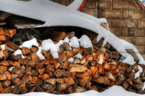 sniegas, malkos, mediena, žiema, sezoninis, snieguotos malkos
