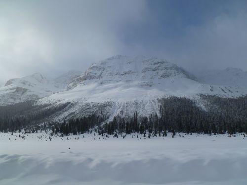 snieguotas kalnas,paslaptingas kalnas,kyla kalnas,žiemos kalnas,Kanados kalnas,Kanados kalnas,miglotas kalnas