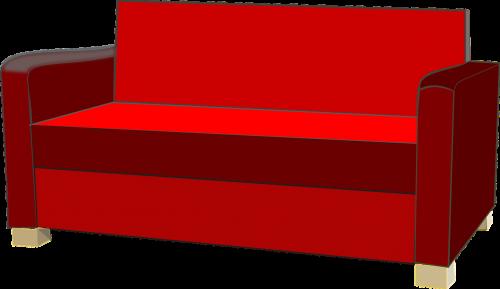 sofa,sofa,raudona,baldai,nepatogus,nemokama vektorinė grafika