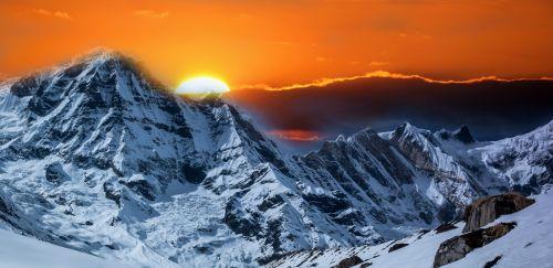 kalnai, sniegas, saulėlydis, saulėtekis, fantazija, fonas, saulėtekis ant kalno