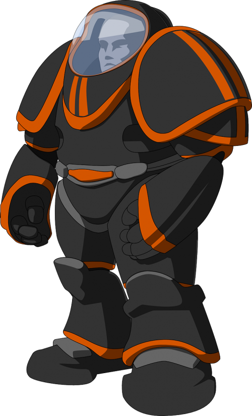 kostiumas,kosmoso kostiumas,kostiumo kostiumas,šarvai,apsauga,mokslinė fantastika,futuristinis,scifi,sci-fi,astronautas,robotas,android,apsaugos kostiumas,juoda,oranžinė,vyras,nemokama vektorinė grafika