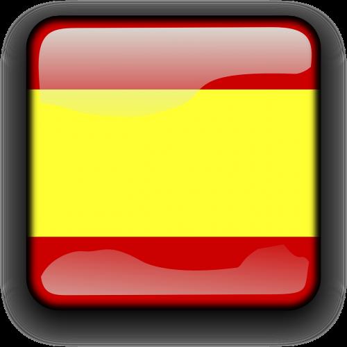 Ispanija,vėliava,Šalis,Tautybė,kvadratas,mygtukas,blizgus,nemokama vektorinė grafika