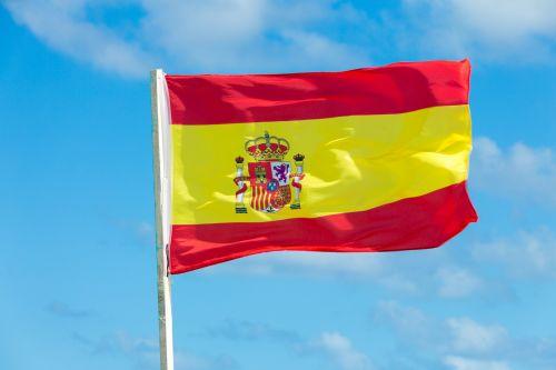 mėlynas, Šalis, europietis, vėliava, skraidantis, nacionalinis, patriotinis, patriotizmas, raudona, ženklas, dangus, Ispanija, ispanų, valstybė, simbolis, plaukiojantys, vėjas, geltona, ispanų vėliava
