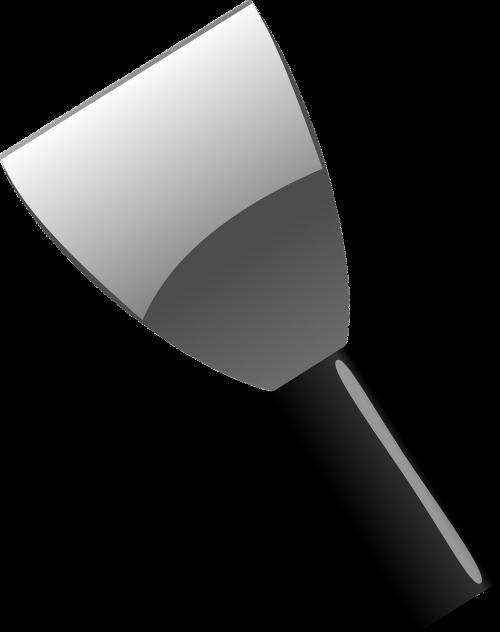 spatas,skreperis,skirstytuvas,juoda,pilka,metalas,įrankis,nemokama vektorinė grafika