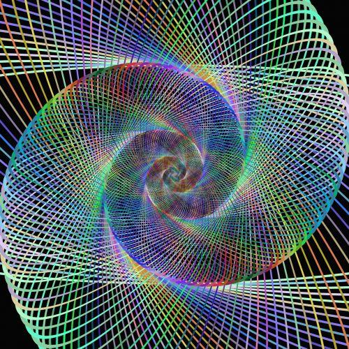 spiralė, fraktalas, laidinis, dizainas, sukurtas kompiuteriu, skaitmeninis, meno kūriniai, grafika, kreivė, daugiaspalvis, sūkurys, pasukti, spalvinga, padengti, kūrybingas