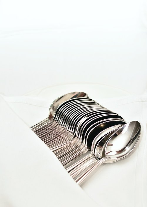 šaukštas, sidabras, chromo, valgyti, blizgantis, atspindi, restoranas, gastronomija, stalo įrankiai, sidabro, panelė stalo įrankiai, Sidabrinis šaukštas, padengti, lentelėje stalo įrankiai, metalas