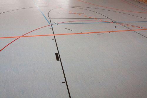 sporto salė,ženklas,krepšinis,sporto klubas,sporto salė,salės grindys,linijos,arka,linoleumas
