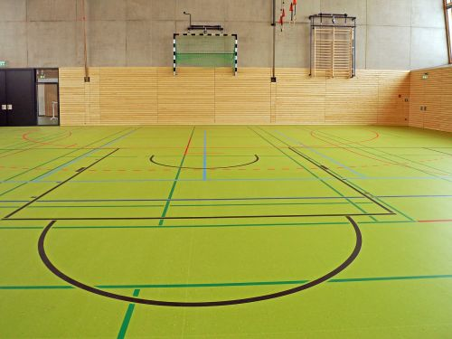 sporto salė,universalus salė,sporto salė,spyruokliniai grindys,žymes,prietaisai,rankinio kamuolio tikslas,paprastas sportas