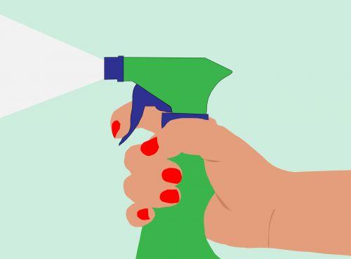 purkšti, purslų & nbsp, butelis, aerozolis, butelis, purškimas, ranka, ūkis, Iliustracijos, iliustracija, purškimo butelis