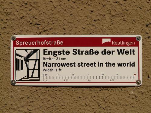 spreuerhofstraße,siauriausia gatvė pasaulyje,įrašyti,pasaulio rekordas,reutlingen,Gineso knyga,gineso įrašų knyga,alėja