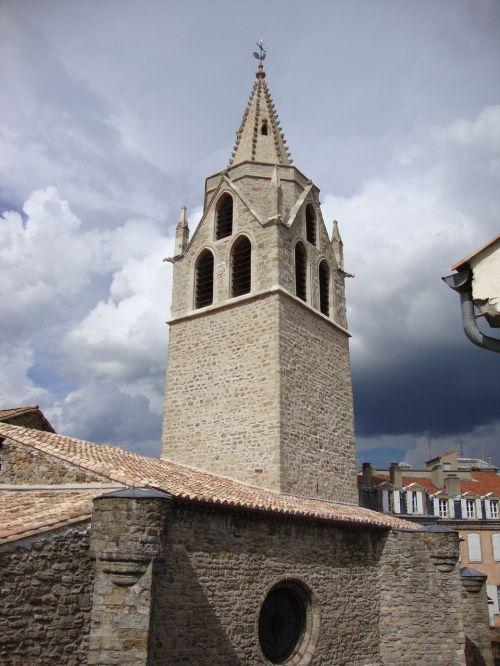 St Laurent, Aubenas, ardèche, france, bažnyčia, bokštas, pastatas, religinis