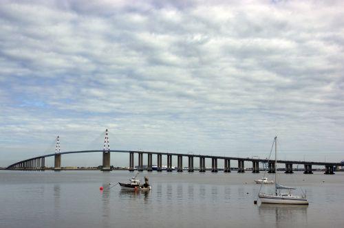 st-nazaire, tiltas, pont de st-nazaire, saint-nazaire, liura atlantiškas, Brittany, loire šalis, loire, upė, estuarija, valtis, dangus, šventasis brevinas, retz šalis, Vandens telkinys, architektūra, kraštovaizdis, jūra, be honoraro mokesčio