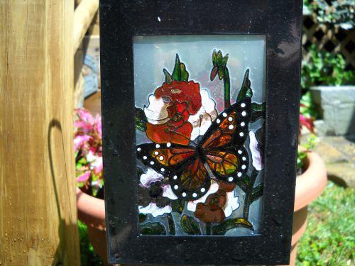 dažytos, stiklas, sodas, ornamentas, žvakė, gaublys, vitražinis sodo ornamentas