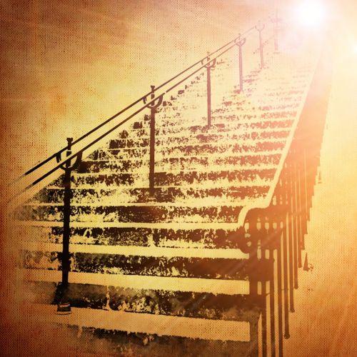 laiptai, palaipsniui, sirrealis, šviesa