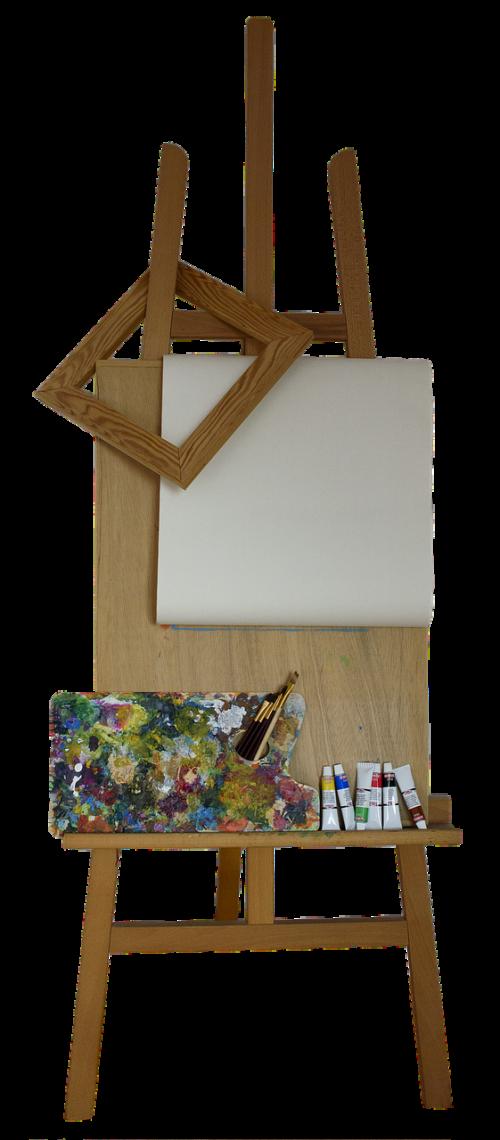 stovėti,molbertas,rėmas,drobė,įvairių,paletė,šepečiai,spalvos,menas,dažyti,kūrybingas,skaidrus,izoliuotas