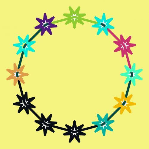 žvaigždės, žvaigždynas, rėmas, šviesa, geltona, ratas, piešimas, paprastas, animacinis filmas, žvaigždžių žvaigždynas