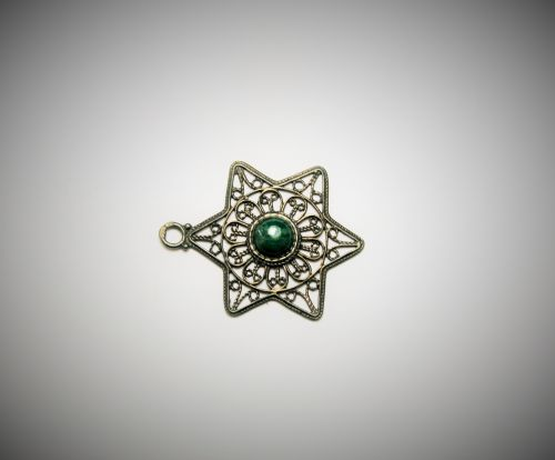 papuošalai, pakabukas, filigranas, žvaigždė & nbsp, david, akmuo, žalias, david filigree žvaigždė