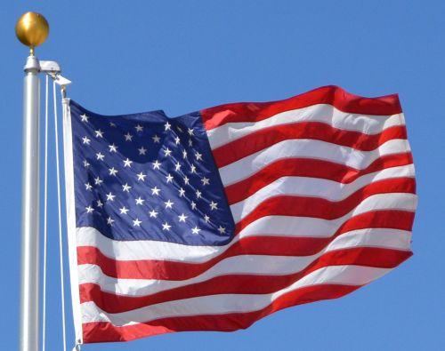 vėliava, raudona, balta, mėlynas, žvaigždės, juostelės, vėliava, usa, žvaigždės juostos vėliava JAV garbę