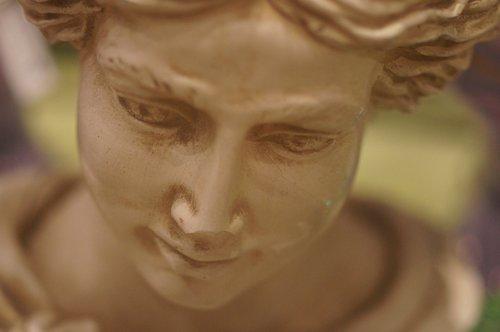 statula, moteris, galvoti apie, veidas, gražus, galvoti