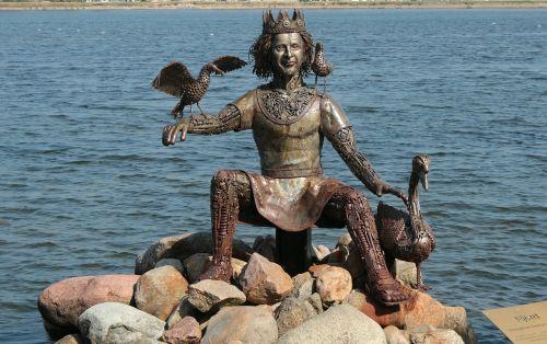 statula,figūra,bronza,njörðr,nagineni,nioerdr,wanen,Norse mitologija,dievas,jūros dievas,skulptūra,nejudantis vaizdas