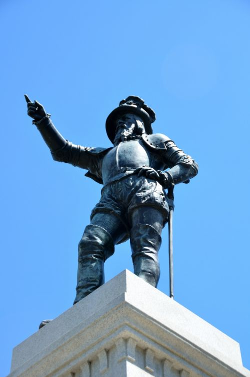 statula, paminklas, orientyras, istorinis, tyrinėti, ponce & nbsp, de & nbsp, leonas, st, Augustine, florida, usa, ispanų & nbsp, kultūra, Ponce de Leono statula