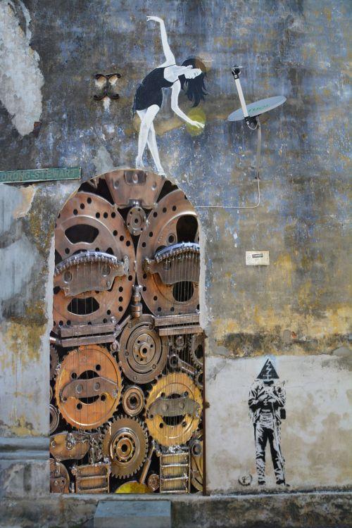 steampunk,įrankiai,cogs,mechaninis,vintage,mašina,stilius,mechanizmas,fantazija,futuristinis,Cyberpunk,išradimas,po apokalipsės,mįslingas,fantastinis,išraiškingas,prietaisas,gatvės menas,grafiti,mergaitė,balerina,kultūra,siena,durų,atlikti,žiūri,šokis