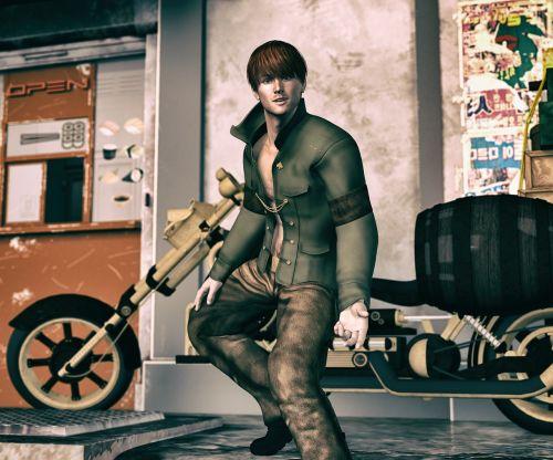 steampunk,Cyberpunk,motociklas,baikeris,kelionė,kelionė,laisvė,kelionė,lauke,kelias,miestas,kelio pusė,vyras,vairuotojas,bagažas,dviratis
