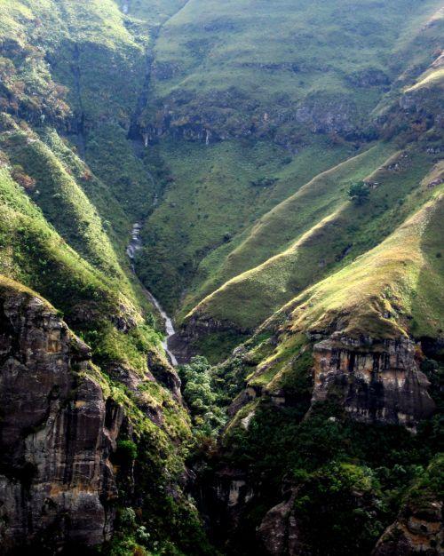 kalnas, šlaitai, kietas, slėnis, antena & nbsp, peržiūra, kietas slėnis, Drakensbergas