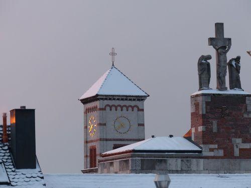 bokštas,bažnyčia,žiema,snieguotas,bažnyčia šventojo Jono Krikštytojo,nauja ulma,katalikų,garnizonų bažnyčia,parapijos bažnyčia,kirsti,angelas,Marija