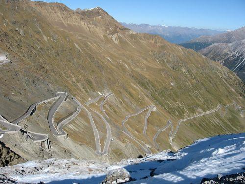 Stelvio jungas,kalnų praėjimas,Stelvio,panorama,dangus,Alpių,maršrutas,kreivės,asfaltuotas,kalnai,eiti kelią,zigzag,48 eiti,serpentinas,aukštas,alpinizmas,kelias,asfaltuotas kelias,ortler-alps,2757m