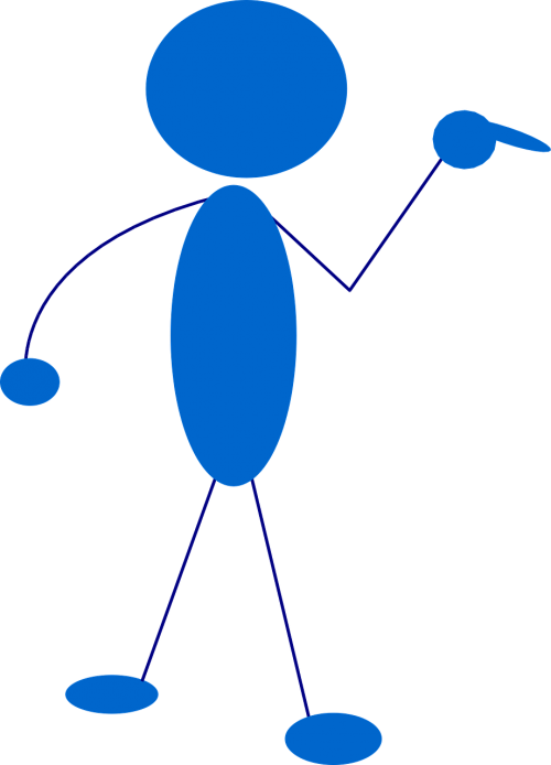 Stick,vyras,Stickman,Stick figūra,matchstick žmogus,nurodant,mėlynas,punktas,nemokama vektorinė grafika