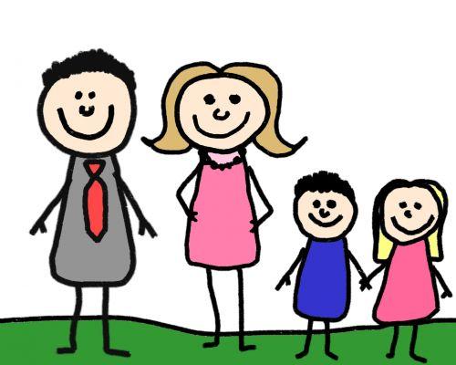 Stick, figūra, šeima, tėvai, vaikai, brolis, sesuo, motina, tėvas, iliustracija, klipas, menas, personažai, Stick figūra šeima