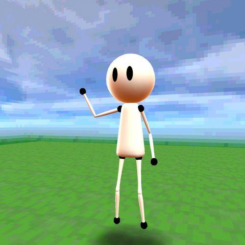 Stick, vyras, lėlės, stovintis, žolė, mėlynas, dangus, kėlimas, ranka, Hallo, Manekenas, Sveiki, Stick man