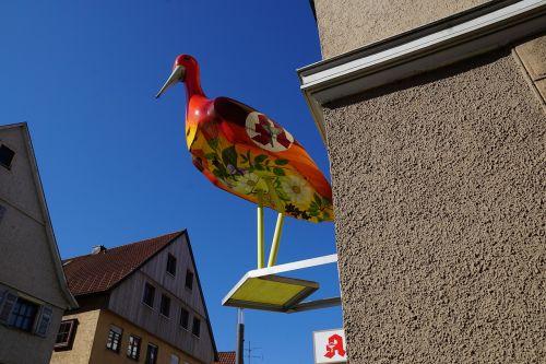 gandras,namai,fasadas,figūra,kūdikis,vaikas,vaisingumas,troškimas,spalvinga,paukštis,kiekiai,Vokietija,į pietus,Storchenweg