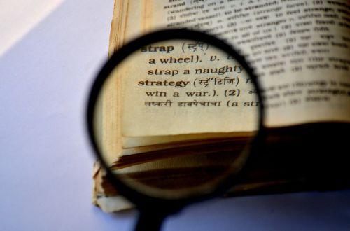 strategija,didintuvas,padidinamasis stiklas,lupa,knyga,žodynas,Paiešką,Paieška,skaitymas,mokymasis,rasti