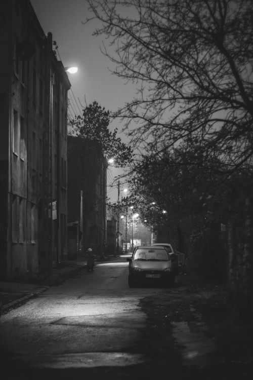 gatvė,automobilis,bw,b & w,miestas,vintage,naktis,lodz,Lenkija,Lenkija
